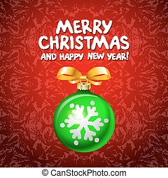 Abstract green Christmas balls cutted from paper on red background. Vector 2016 illustration