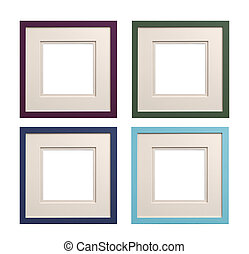Square picture frames mauve, green, blue, cyan with card...
