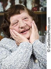 Happy nice senior woman - Portrait of happy face of elderly...