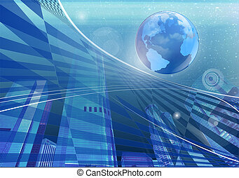 Abstract of a globe and the city on the background
