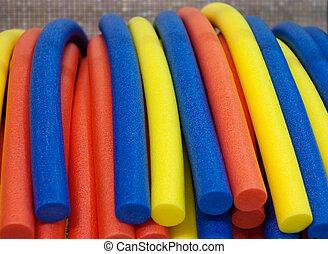 water aerobics equipment - aqua noodles for water aerobics....