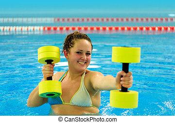 Woman in aqua aerobic - aqua aerobic, woman in water with...