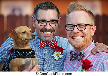 Homosexual Couple with Pet - Outdoor marriage ceremony for...