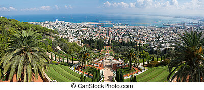 Haifa panorama from top of Carmel, Israel