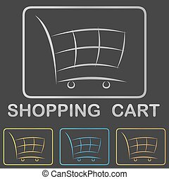 Metallic shopping cart icon, button design set