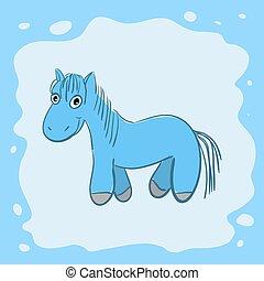 New year card with cute cartoon horse