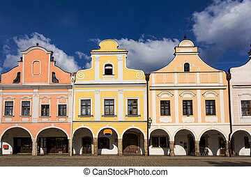 Telc, Czech Republic - Unesco city. A row of the houses on...