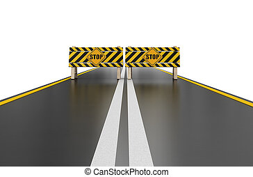 Closed road with stop sign Image with clipping path