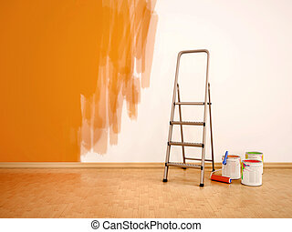 3d illustration of Process of repainting the walls in orange colour