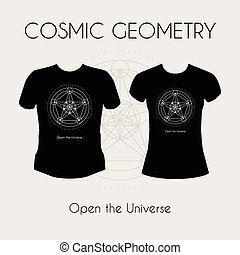 Cosmic Geometry T-Shirt - Cosmic Geometry Vector t-shirt...