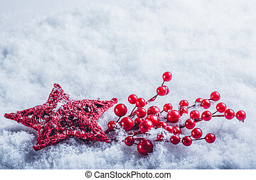 beautiful vintage red heart with mistletoe berries on a...