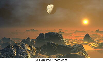 Alien Planet - isty rocky terrain filled bright orange...