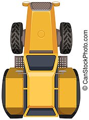 Yellow tractor in large scale illustration
