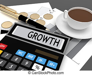 3D calculator with the word growth on the display