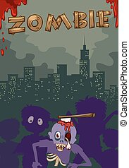 Zombie with axe on head illustration