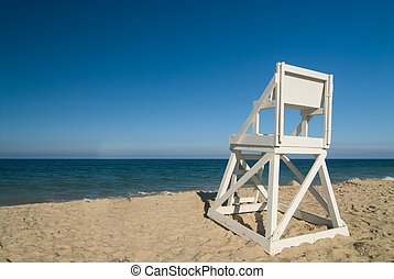 Life guard seat at perfect beach - Wide angle shot of a...