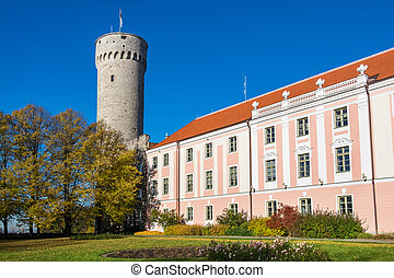 Governors garden. Tallinn, Estonia - Tall Hermann tower and...