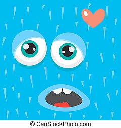 Blue monster face cartoon personage Card background element...