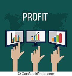 Profit graphics, vector illustration - Profit concept with...