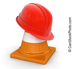 Helmet and traffic cone Image with clipping path