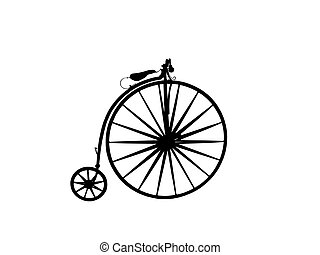 Penny farthing bicycle in silhouette with path