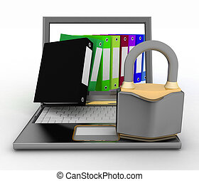 Security protection of files, or confidential folders, internet security concept. 3d  illustration on a white background