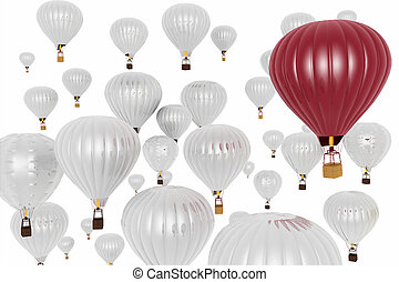 Hot air balloons on a blue sky background