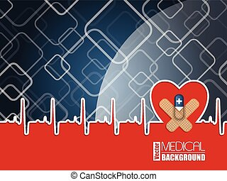 Medical background with ekg heart and blue pill