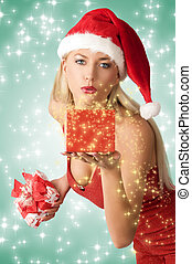 sexy xmas girl with git - pretty blonde girl with sexy red...