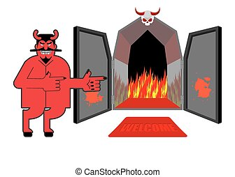 Satan invites sinners to hell. Devil indicates hand on purgatory. Laughing Red daemon at  entrance of Hyena and  fire.