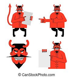 Set satana and devil. Daemon in different poses. Scary red demon shows blank. Beelzebubs head with smile and horns