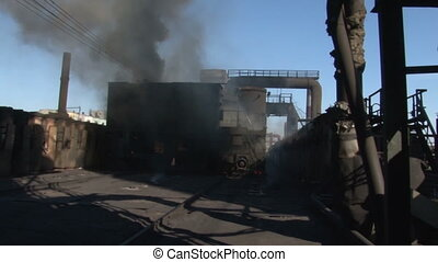 Smoke on coke oven battery fire. Overall plan - Coke and...