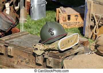 French army helmet during the World War II
