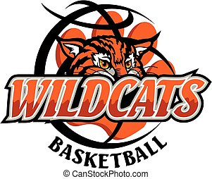 wildcats basketball team design with mascot head and paw...