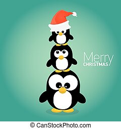 merry christmas card with penguins set. cartoon funny...