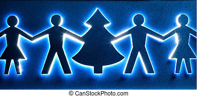 Christmas tree and family paper cutting design card.