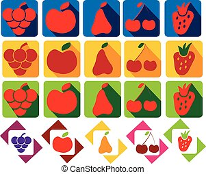 set of fruits and berries icons