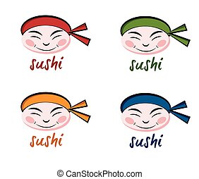 set of faces sushi chef