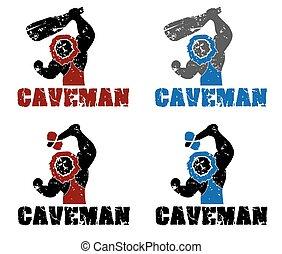Set of grunge caveman