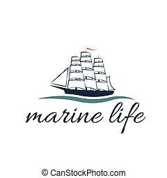 illustration marine life with frigate