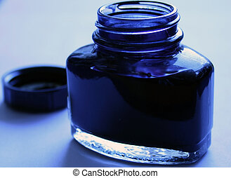 blue inkpot - blue ink in an open blue inkpot with blue...
