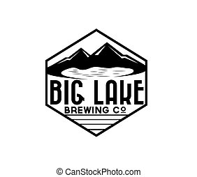 lake and mountains on brewing company label