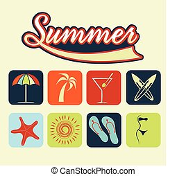 flat icons of summer