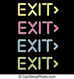 vector illustration showing a neon exit sign