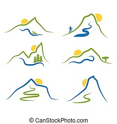 set of mountains,trees and sun