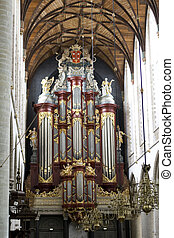 Antique 18th century church organ in the Netherlands -...