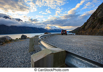 look out view of wakatipu lake in queentown south island new...
