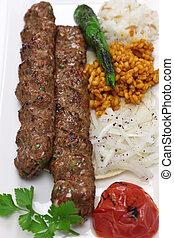 adana kebab, turkish food - adana kebab, minced meat kebab,...