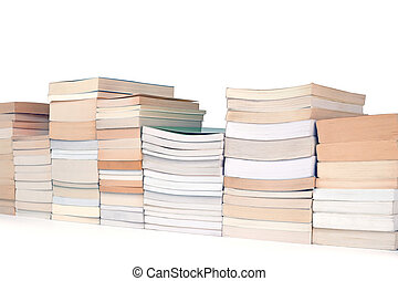 reading matter - row of books on a white background oblique...