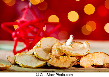 Dried fruit with red star on the red background